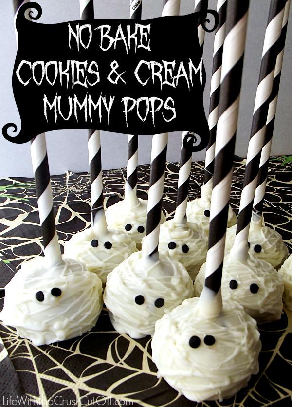No Bake Cookies and Cream Mummy Pops