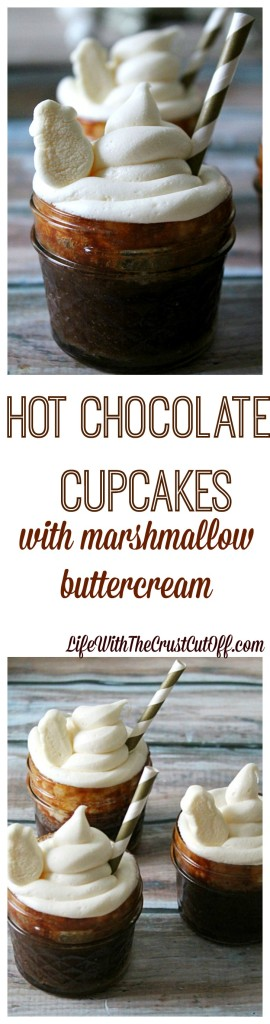 Hot Chocolate Cupcakes with Marshmallow Buttercream.  The perfect sweet treat for a winter's day!