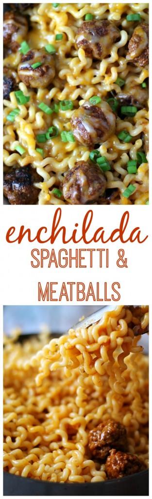 Enchilada Spaghetti and Meatballs