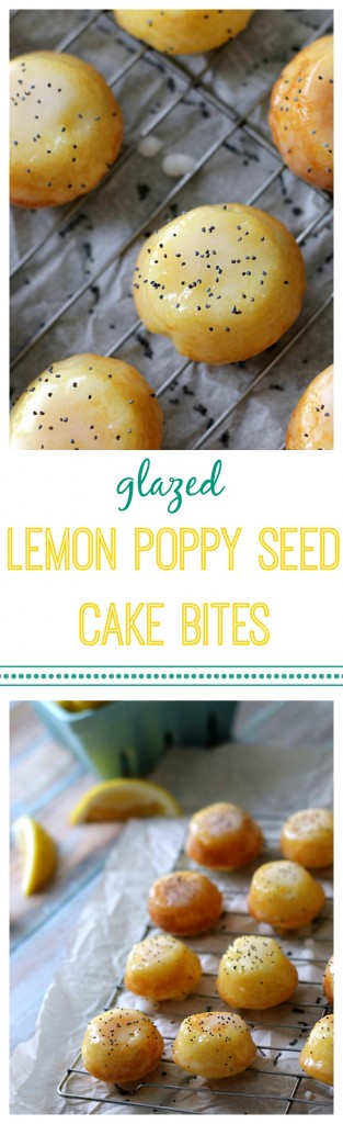 Glazed Lemon Poppy Seed Cake Bites.  The perfect sweet treat with the right pop of lemon flavor that is easy to make.