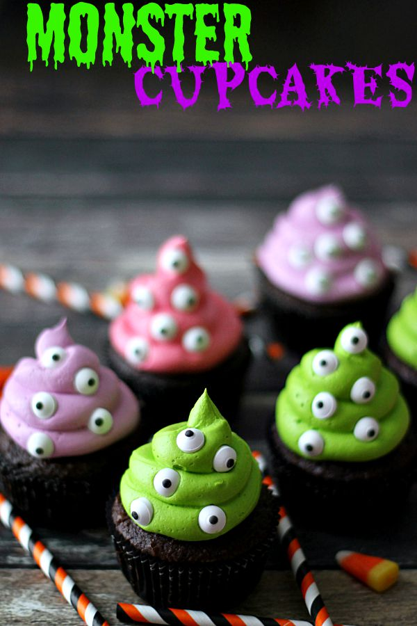 Monster Cupcakes, perfect spooky treat for Halloween!