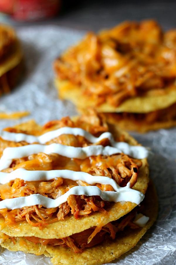 Honey Chipotle Chicken Tostadas