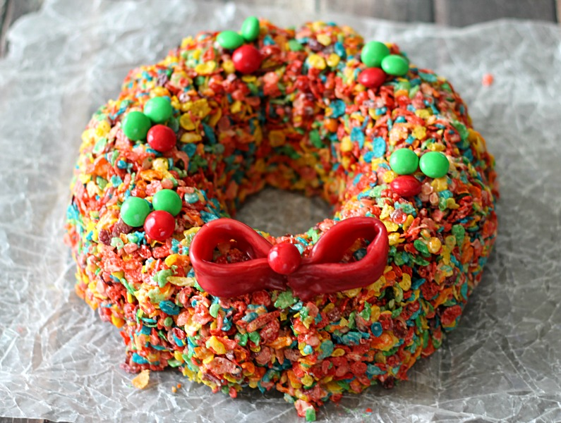 Fruity Pebble Treat Wreath