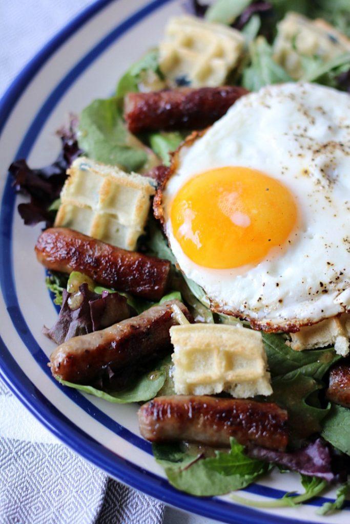 Sausage Salad with fried egg