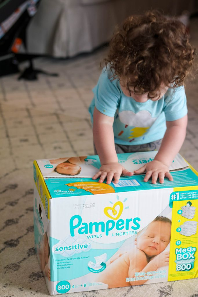 Sam Loves Pampers Wipes!
